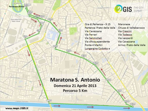 Maratona S. Antonio - 21 aprile 2013 - Percorso 5 Km by 2GIS THE CITY EXPERT