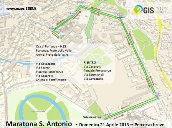 Maratona S. Antonio - 21 aprile 2013 - Percorso breve by 2GIS THE CITY EXPERT