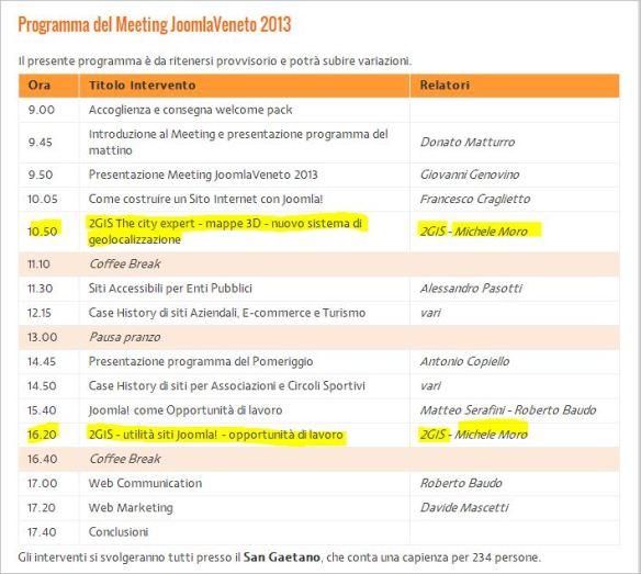 Michele Moro marketing manager 2GIS spa - speech al Meeting Joomla Veneto - sabato 20 aprile 2013