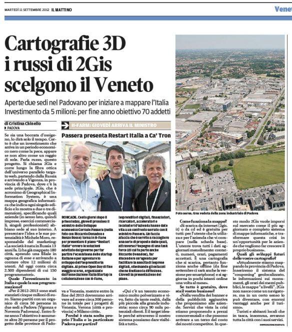 Stampa - Mattino di Padova - 11.9.2012 - Articolo I russi di 2GIS scelgono il Veneto (solo 2GIS)